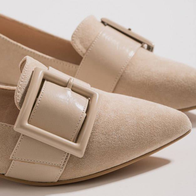 Beige Cut Pointed Low Heel Wear-Resistant Women's Loafers