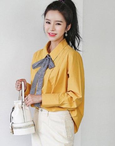 Yellow Plain Lapel Long Sleeve Loose Women's Shirt