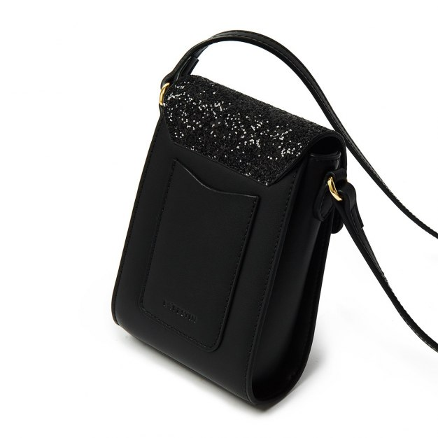 Black Plain Cowhide Leather Small Women's Crossbody Bag