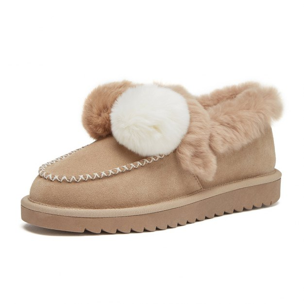 Apricot Cut Round Head Low Heel Women's Snow Boots