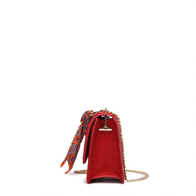 Red Plain Cowhide Leather Small Women's Shoulder Bag