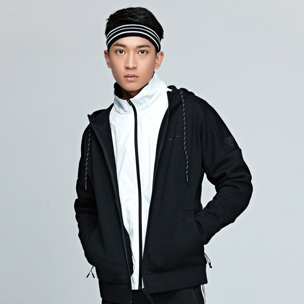Black Stand Collar Long Sleeve Wear-Resistant Men's Outerwear