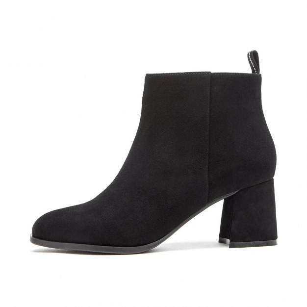 Black Square Toe of Shoes High Heel Women's Boots