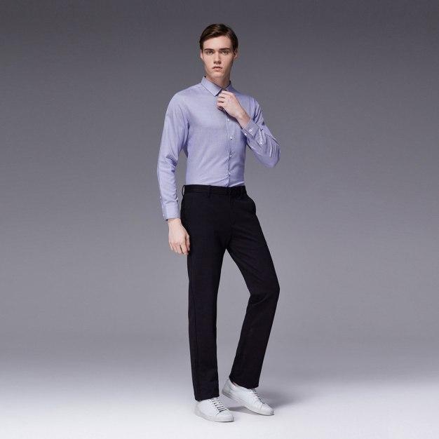 Purple Stripes Square Neck Long Sleeve Standard Men's Shirt