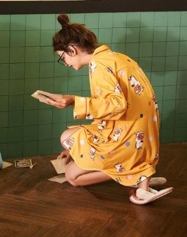 Yellow Cotton Long Sleeve Standard Women's Sleepwear