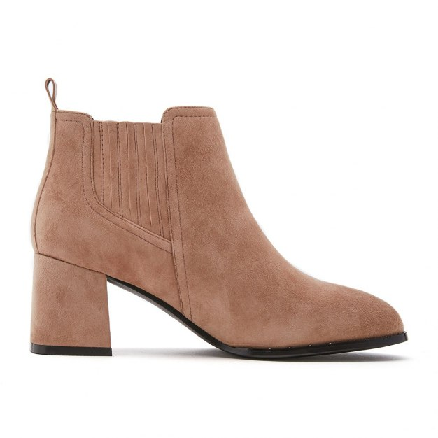 Apricot Top Round Head High Heel Women's Boots