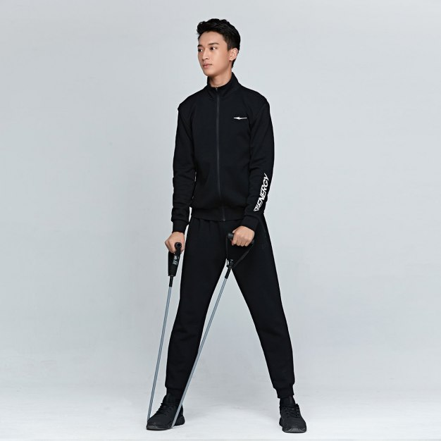 Black Stand Collar Long Sleeve Anti-Pilling Men's Outerwear