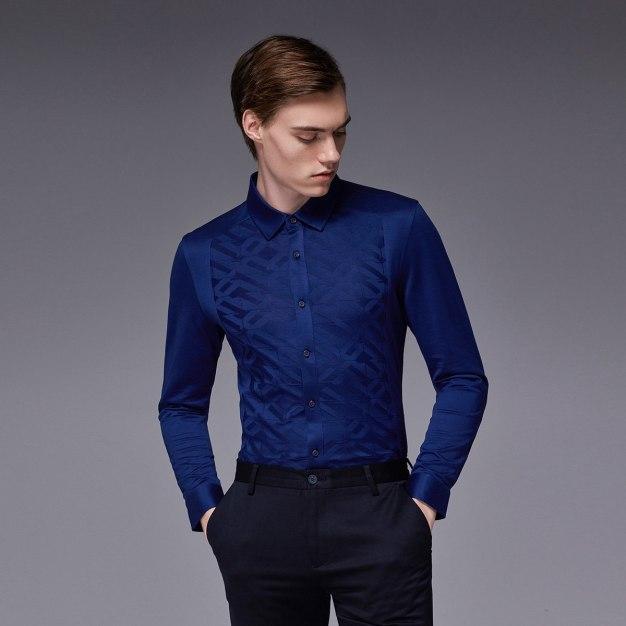 Purple Plain Square Neck Long Sleeve Fitted Men's Shirt