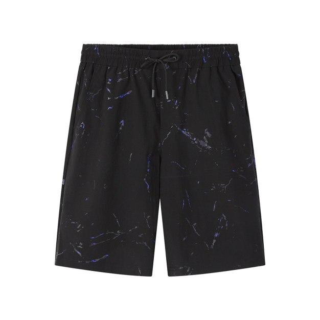 Blue Drawstring Light Elastic Loose CroppedPants Men's Pants