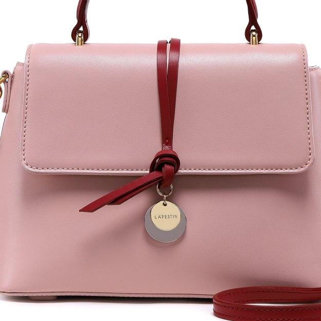 Pink Plain Cowhide Leather Medium Women's Crossbody Bag