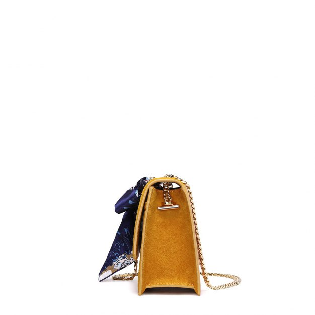 Yellow Plain Cowhide Leather Small Women's Shoulder Bag