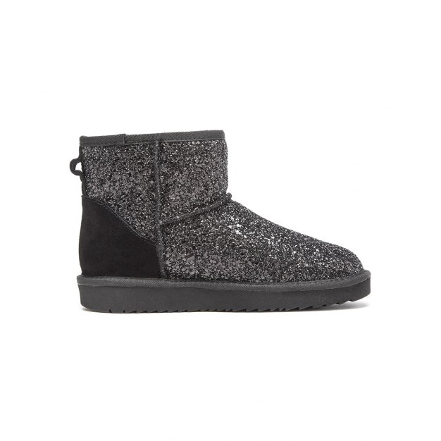 Black Cut Round Head Low Heel Women's Snow Boots