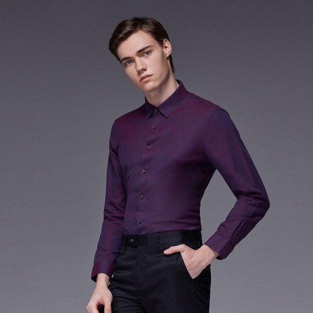 Red Stripes Square Neck Long Sleeve Standard Men's Shirt