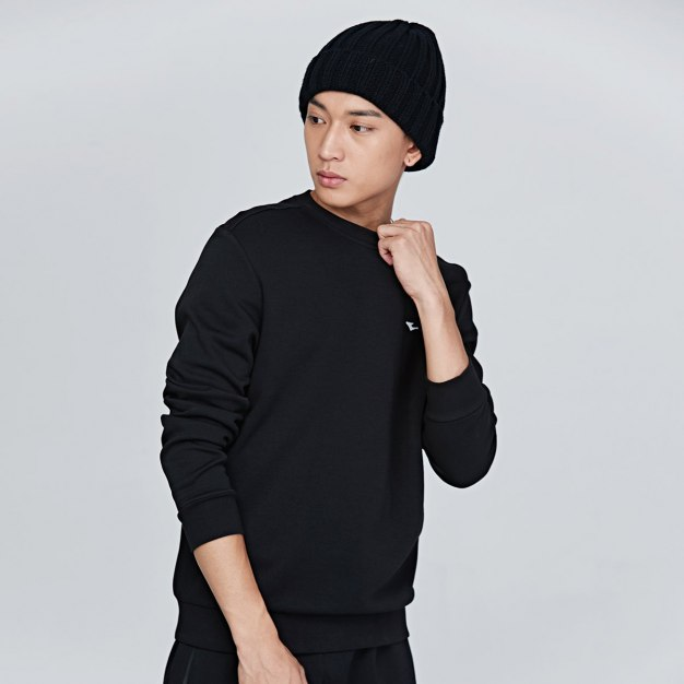 Black Round Neck Elastic Long Sleeve Fitted Men's Outerwear
