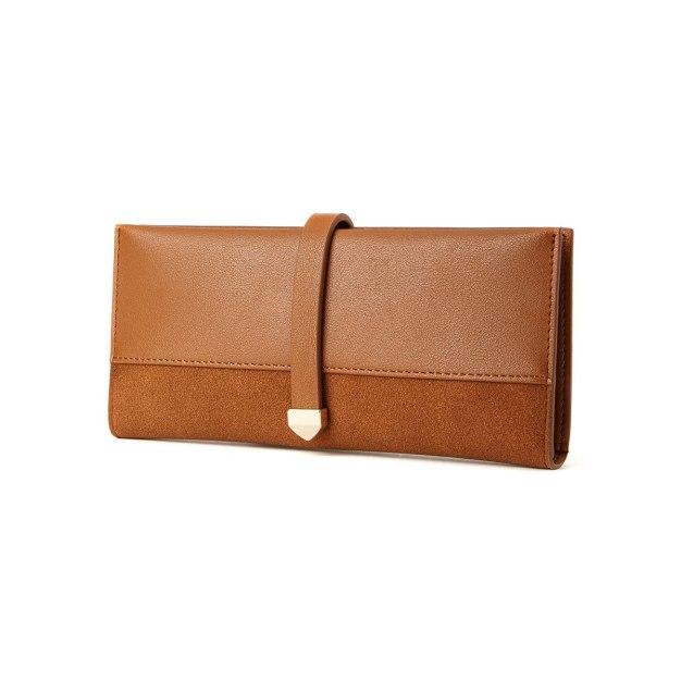 Brown Plain Pvc Purse(Long) Mini Women's Wallet