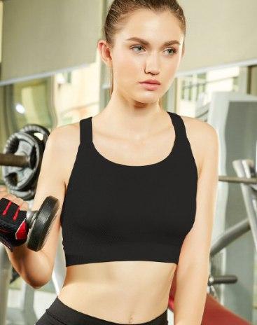 Black Fixed Shoulder Straps Women's Bra