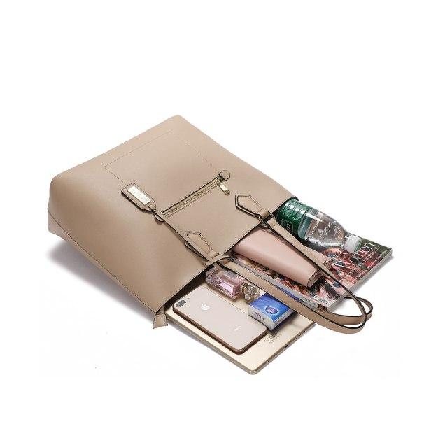 Camel Plain Pvc 2 Pieces Bag Big Women's Shoulder Bag