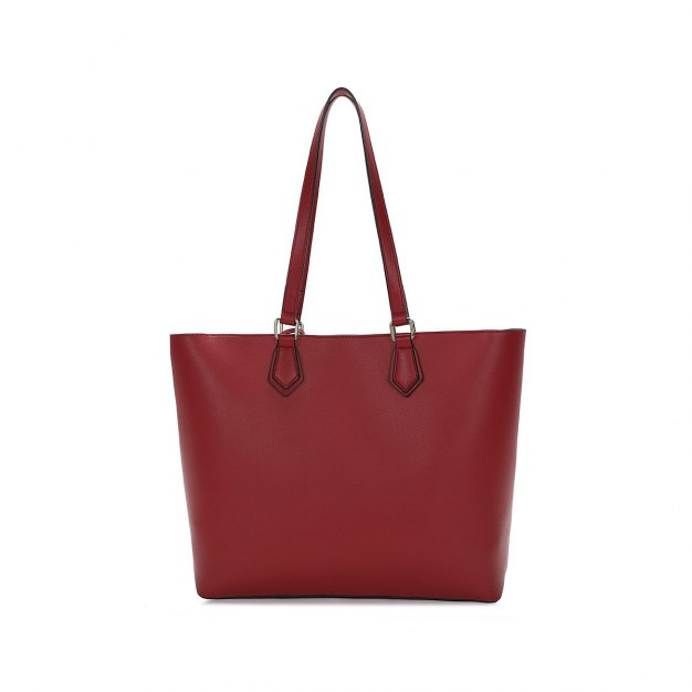 Red Plain Pvc 2 Pieces Bag Big Women's Shoulder Bag