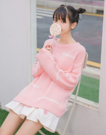 Pink Round Neck Long Sleeve Loose Women's Sweater