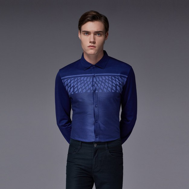 Purple Square Neck Long Sleeve Standard Men's Shirt
