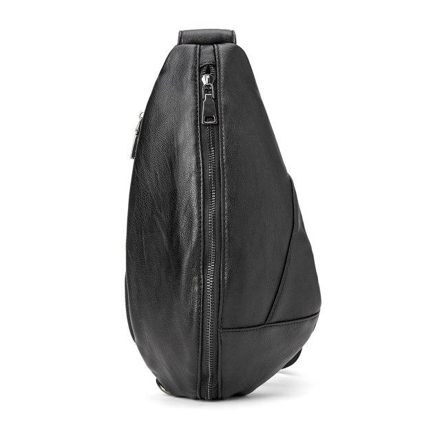 Black Plain PU Medium Men's Shoulder Bag