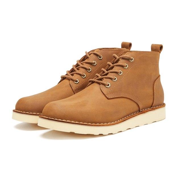 Brown Round Head Men's Boots