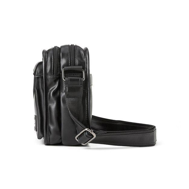 Black Plain PU Small Men's Shoulder Bag