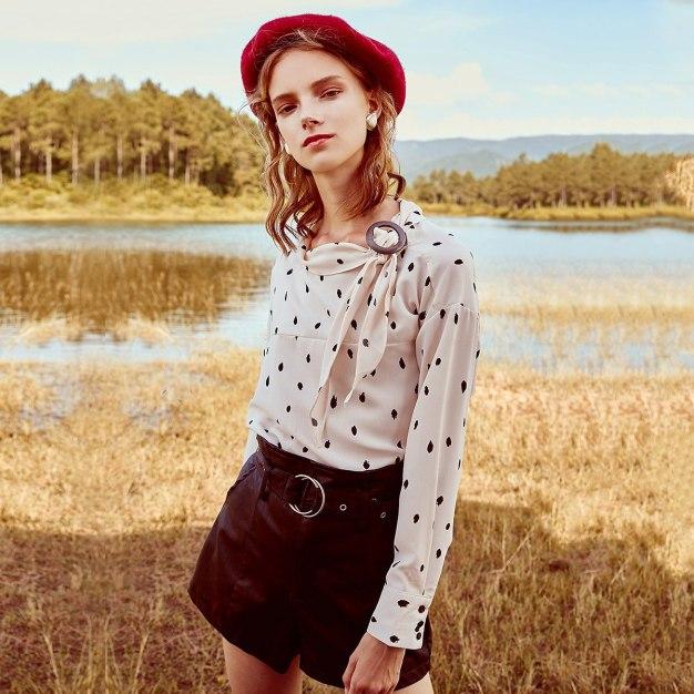 Apricot Dot Strappy Neck Elastic Long Sleeve Women's Shirt