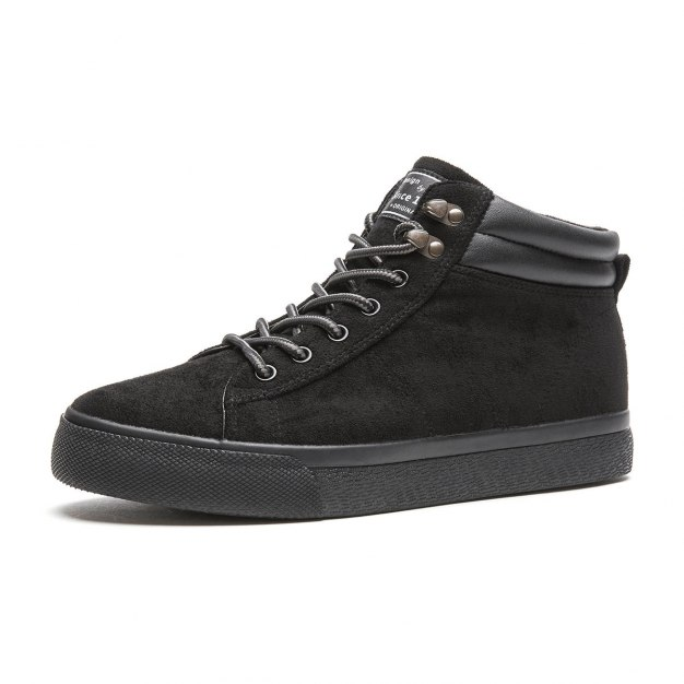 Black High Top Round Head Men's Outdoor Causal Shoes