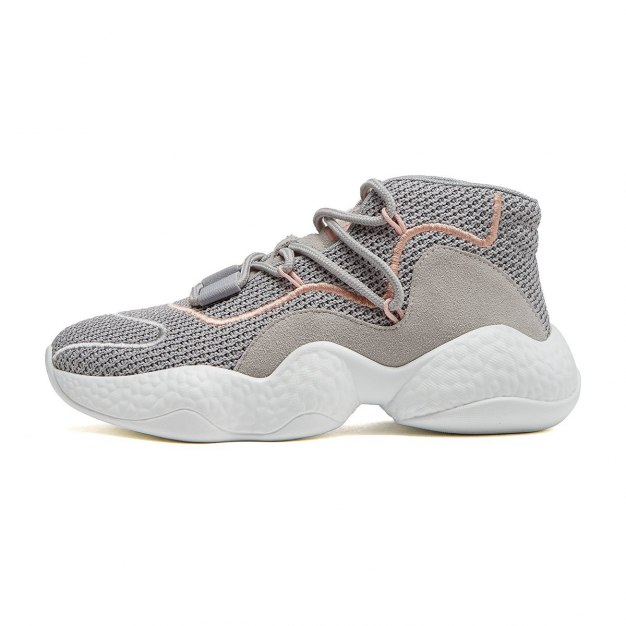 Gray High Top Round Head Middle Heel Women's Sport Shoes
