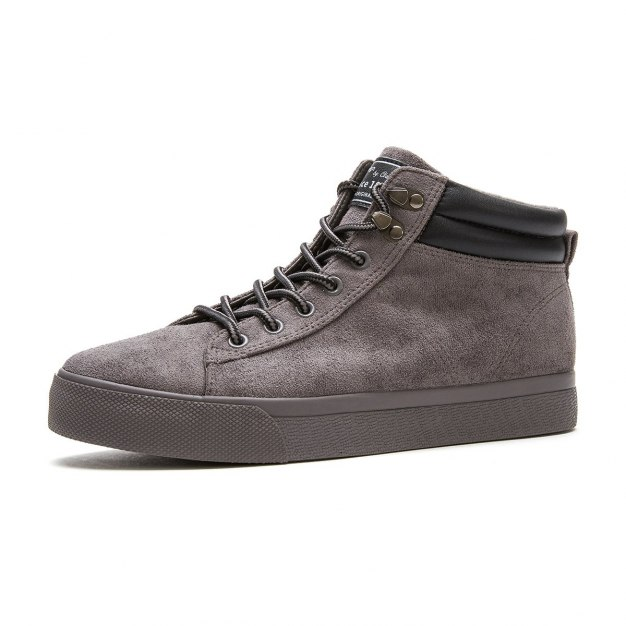 Gray High Top Round Head Men's Outdoor Causal Shoes