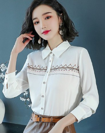 White Embroidery Lapel  Long Sleeve  Women's Shirt