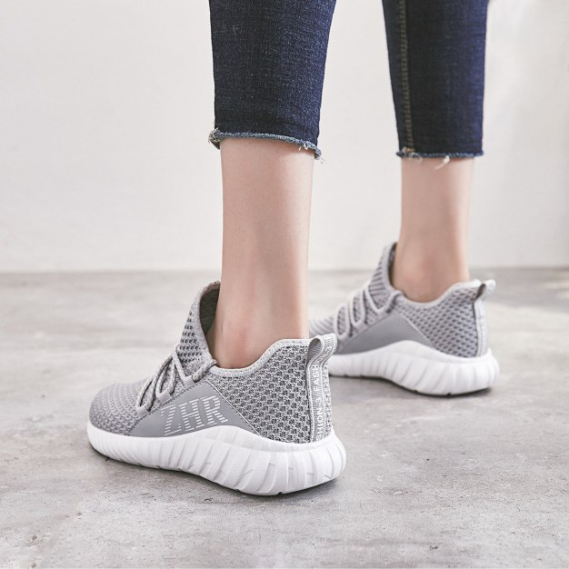 Gray Round Head Flat Women's Outdoor Shoes