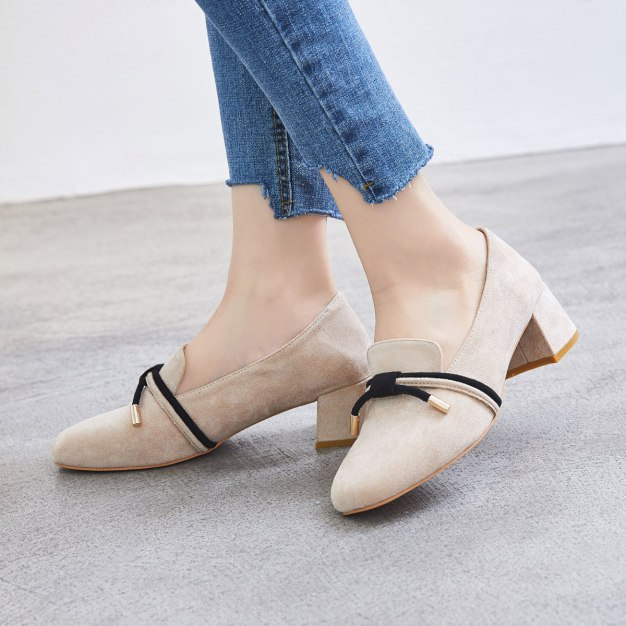 Apricot Square Toe Middle Heel Women's Pumps