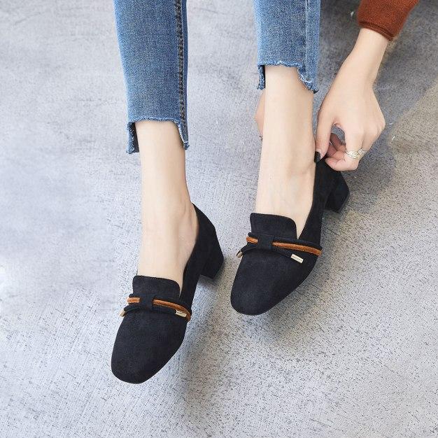 Black Square Toe Middle Heel Women's Pumps