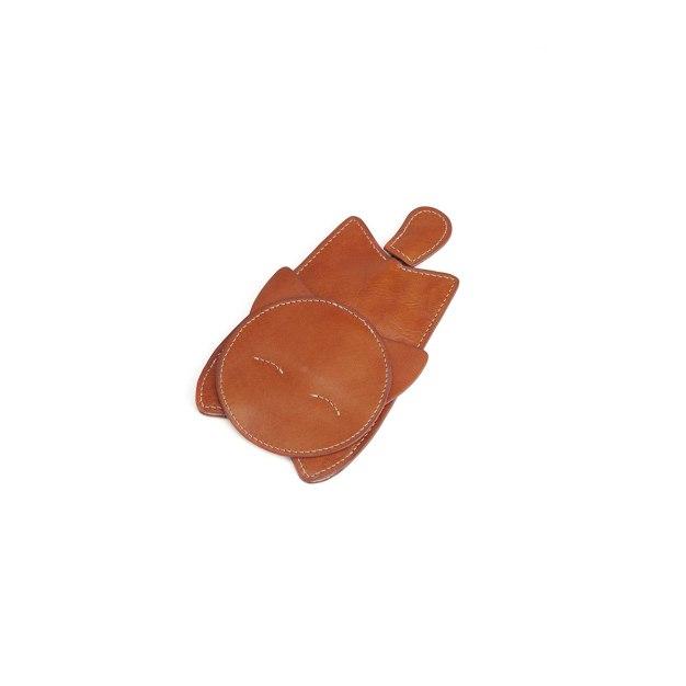 Brown Plain Cowhide Leather Mini Men's Key Case
