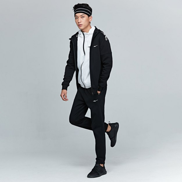 Black Stand Collar Long Sleeve Fitted Warm Men's Outerwear