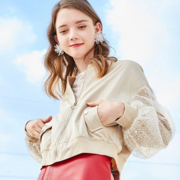 Apricot Plain Collarless Long Sleeve Standard Women's Outerwear