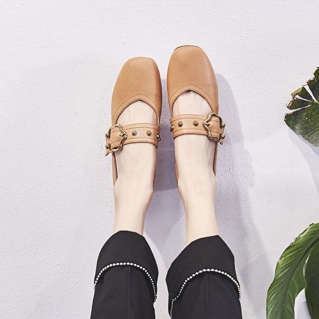 Brown Square Toe Middle Heel Wear-Resistant Women's Pumps
