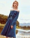 Blue Off Neckline Sleeve High Waist Long Shaped Women's Dress