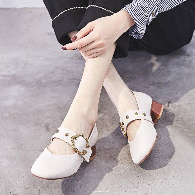 Gray Square Toe Middle Heel Wear-Resistant Women's Pumps