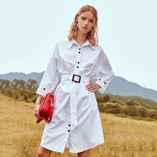 White Lapel Long Sleeve High Waist 3/4 Length Women's Dress