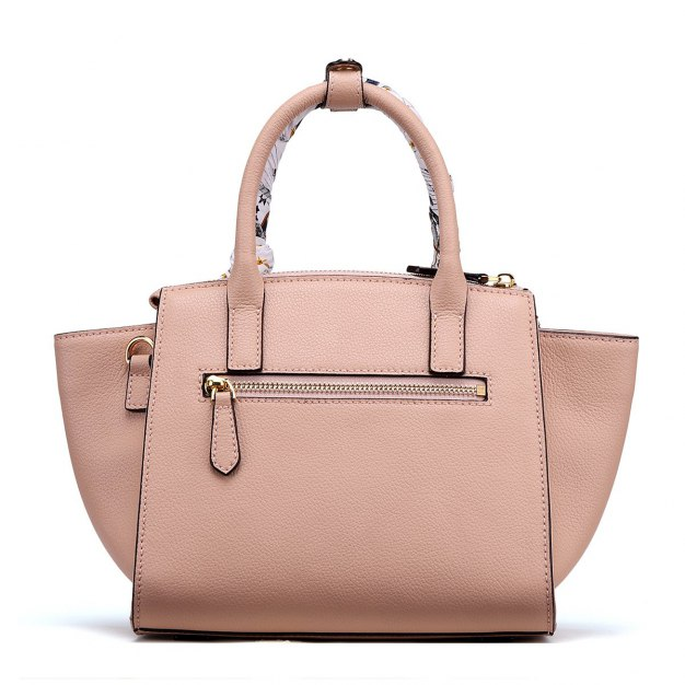 Apricot Plain Cowhide Leather Medium Women's Tote
