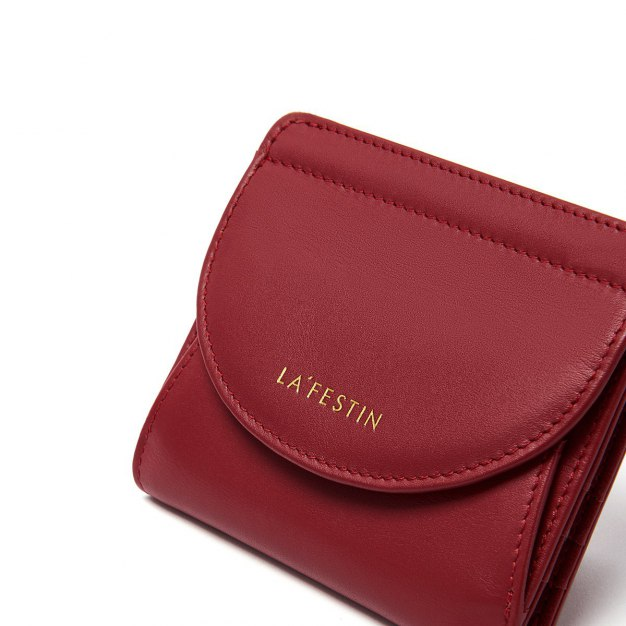 Red Plain Cowhide Leather Purse(Short) Small Women's Wallet