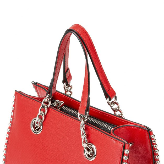 Red Plain Cowhide Leather Small Women's Tote