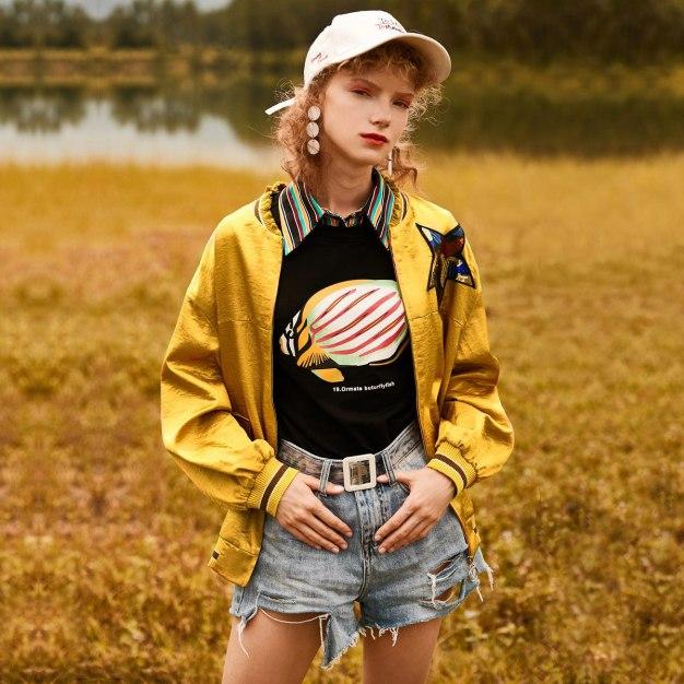 Yellow Stand Collar Long Sleeve Standard Women's Outerwear