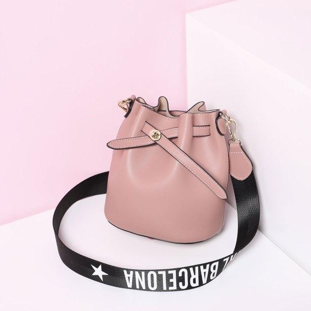 Pink Plain Pvc 2 Pieces Bag Medium Women's Crossbody Bag