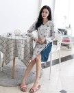 Gray Cotton Long Sleeve Standard Women's Sleepwear