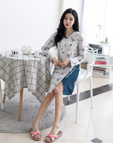 Gray Cotton Long Sleeve Standard Women's Sleepwear