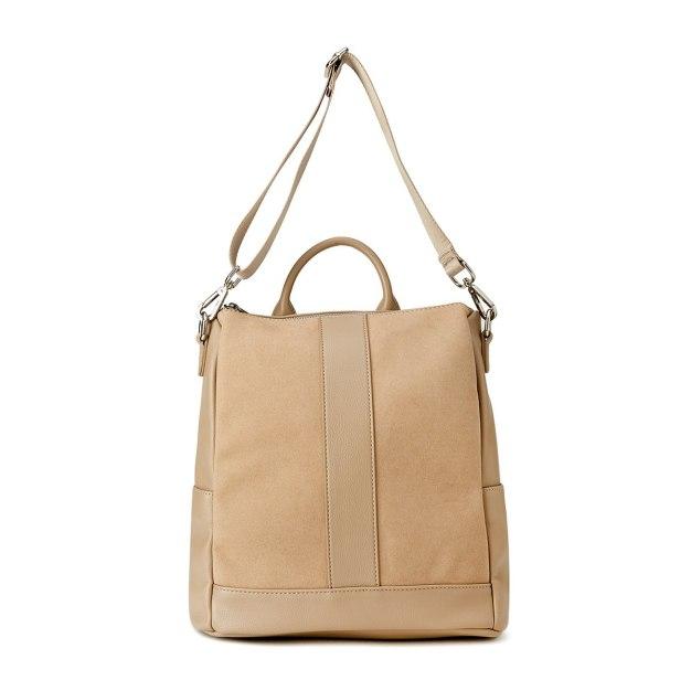 Apricot PU Small Plain Women's Backpack